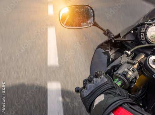 motorbike riding on the highway