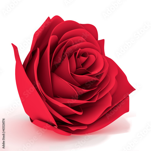 Three dimensional red rose on a white background