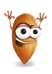Happy almond cartoon character, smiling and waving hands.