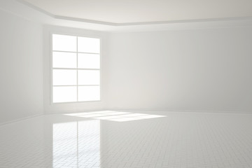 Heller Raum mit Fließen in weiß