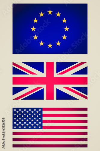 Retro look EU UK USA flag vignetted illustration