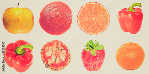 Retro look Food collage