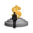 Man climbing on podium toward money symbol