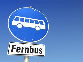 Schild Fernbus