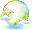 緑と虹色の地球と雲