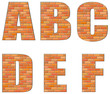 Vector font build out of red bricks