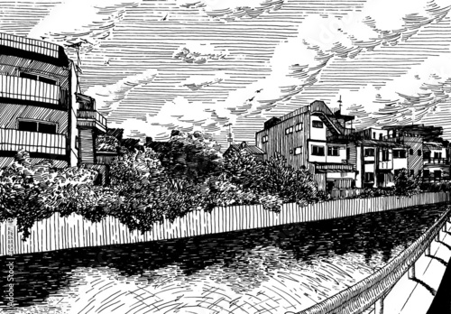 Rural houses by the water channel in Matsuyama drawing ink sketc