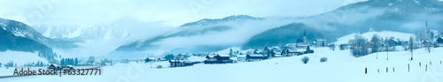Leinwandbild Motiv Winter mountain village panorama (Austria).