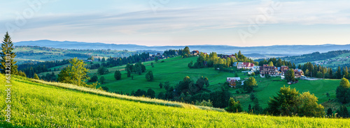 Summer morning mountain village panorama (Poland)