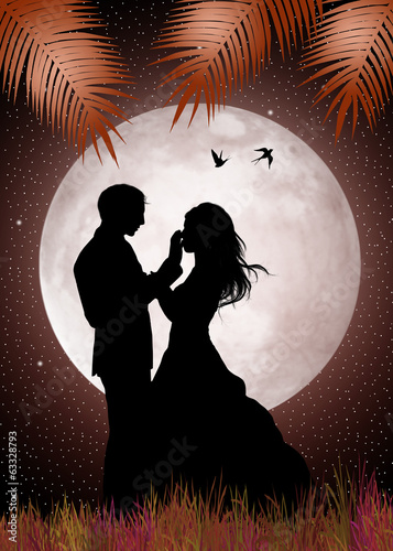 bride and groom in the moonlight