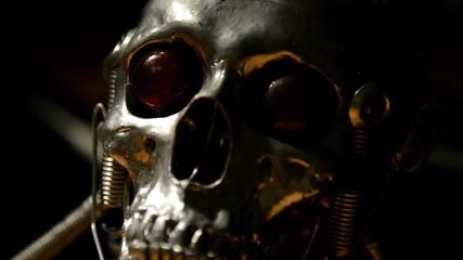 Skull of a terminator sliding
