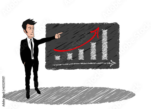 Courbe de croissance dessin businessman costume tableau noir