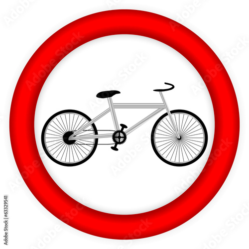 No bicycle sign icon.