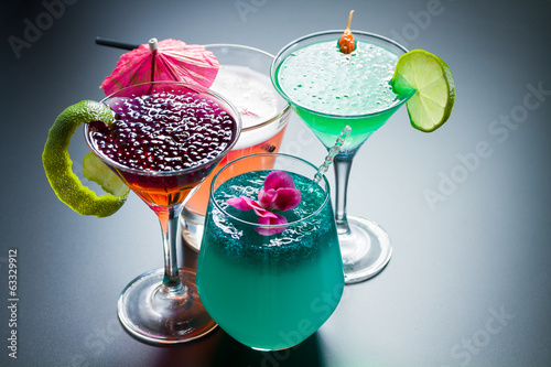 Four Cocktail with caviar