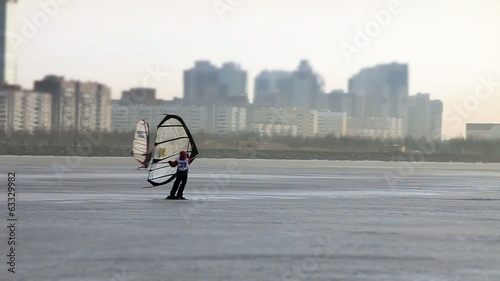Windsurfer on skis tracking focus