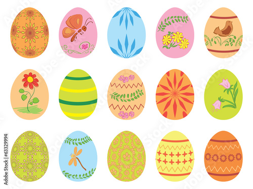 Easter eggs with ornament - vector