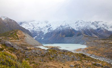 Hooker lake in early autumn Mt Cook Valleys, New Zealand