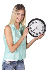 Pretty Lady Pointing to Clock