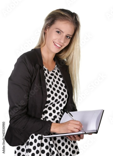 Lovely Smiling Woman Writing in Diary