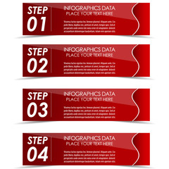 Modern rectangle infographic four steps option banner