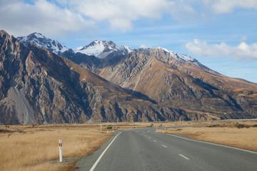 Road to Tasman valleys Aoraki Mount Cook National park, NZ