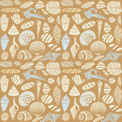 Sea shells and rocks seamless pattern background