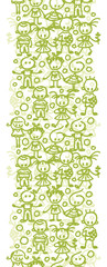 Children playing vertical seamless pattern background border