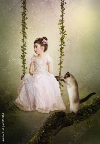 Sad princess and cat
