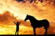 Obrazy na płótnie, fototapety, zdjęcia, fotoobrazy drukowane : horse and child