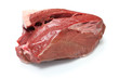 raw beef heart meat isolated on white background