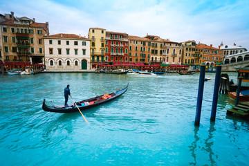 Gondolier in gondolla in Venice