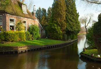 Canal in Giethoorn,  Dutch.