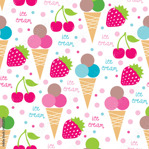 ice cream cones and fruits seamless pattern vector illustration