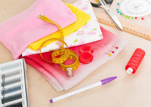 Colorful fabrics and sewing accessories