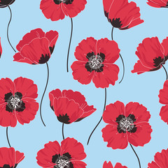Seamless floral pattern with red poppies