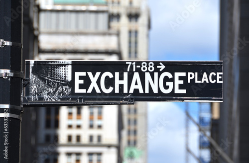 Exchange Place sign on the street of New York City