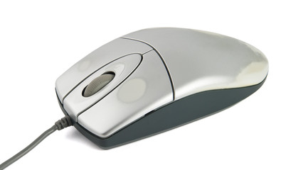 Used computer mouse on white background