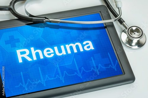 Tablet mit der Diagnose Rheuma auf dem Display