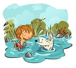 niño con perro bañándose