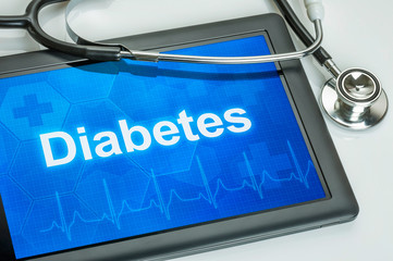 Tablet mit der Diagnose Diabetes auf dem Display