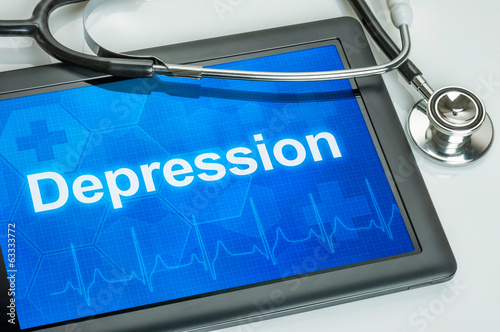 Tablet mit der Diagnose Depression auf dem Display