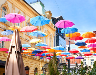 Umbrellas in the sky