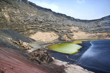 El Golfo in Lanzarote, the green lagoon - lago verde- with green