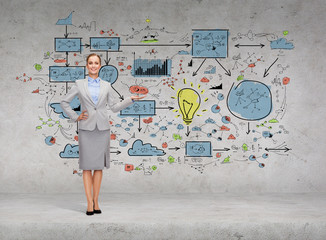 businesswoman showing big plan on concrete wall