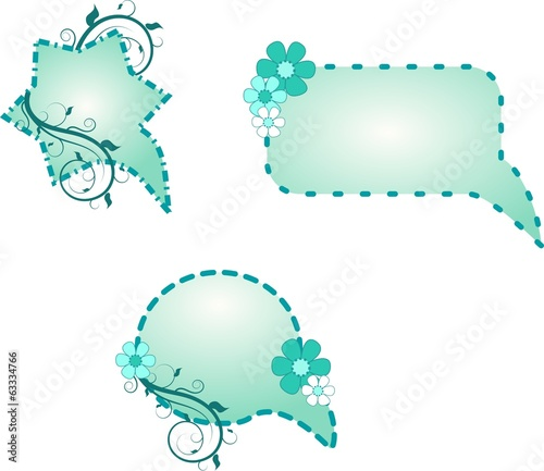 Blue designed speach bubbles