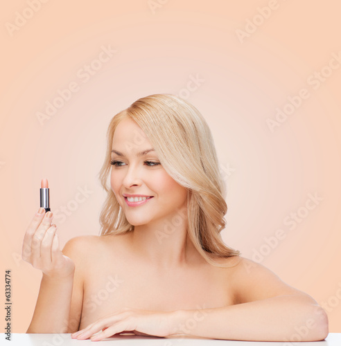 beautiful woman with pink lipstick