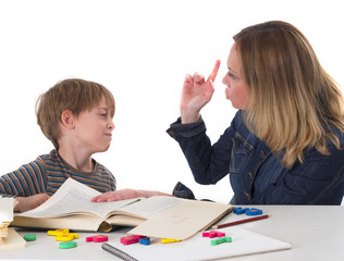 young pupil confronting his mother who threating him