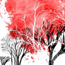 Résumé silhouette des arbres
