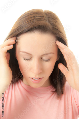 Tired stressed woman holding head