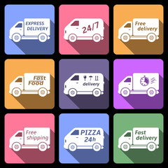Delivery car icons, flat design vector